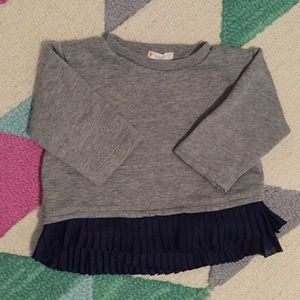 Crew Cuts sweatshirt with pleated ruffle hem